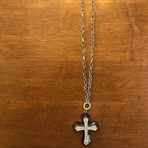 Black Cross covered with rhinestones  Necklace